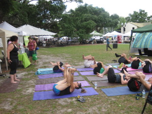 A group yoga class at the event.