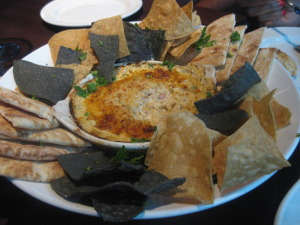Lobster, Crab, and Artichoke Dip with baked pita: it's even better than it looks!