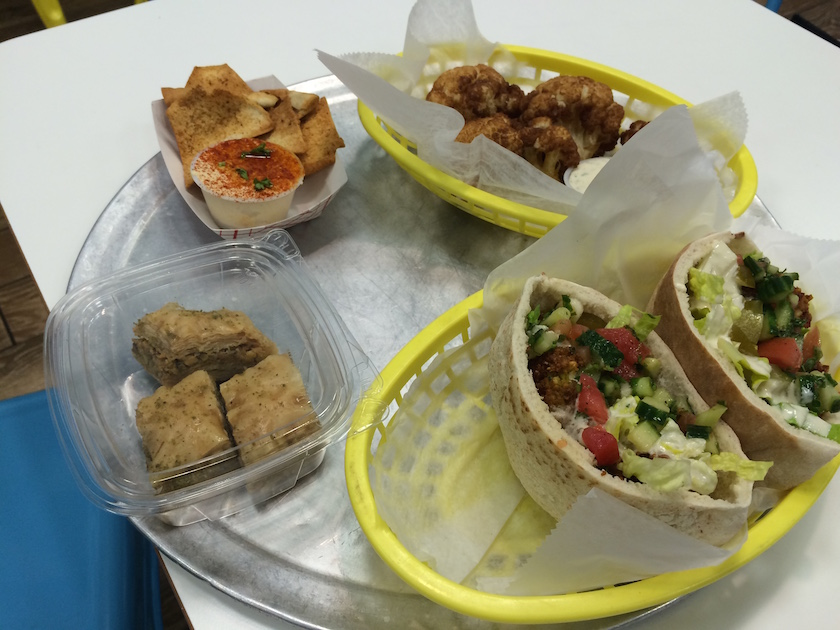 So, this was my full spread at Hubbly Bubbly: Falafel Sandwich Pocket, Fried Cauliflower, Pita Chips and Hummus, and Baklava. I was so full that night!