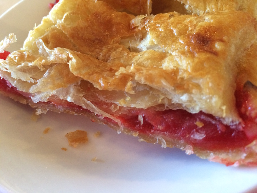 "Here's an ""inside look"" at my guava pastry. It was flaky on the outside and sweet and gooey on the inside."