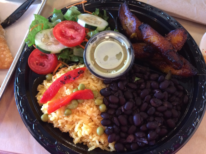 This is the Vegetarian Platter complete with yellow rice, black beans, plantains, and salad. At first look, I was a little underwhelmed. But by the very first bite, I was hooked! Can I just say that the plantains were so good, and were perfectly cooked. And filling? I was stuffed.