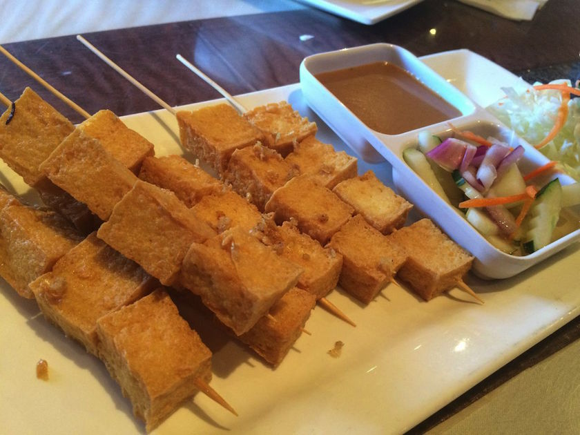 Tofu Satay: I loved this dish! It was my favorite part of the dinner. If I hadn't ordered it, my visit to Thai Place would have been a complete let down. So, I guess you could say that it saved the day. The tofu had the perfect crunchy outer layer while the inside was fluffy and soft. The accompanying peanut sauce and cucumber salad just added to the perfectness of this dish.