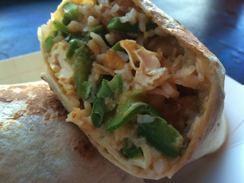 A little up close and personal with my Thai Panang Tofu Burrito. Before biting into it, I thought what I saw was cheese in the burrito. But the gentleman who took my order assured me that there was no cheese.
