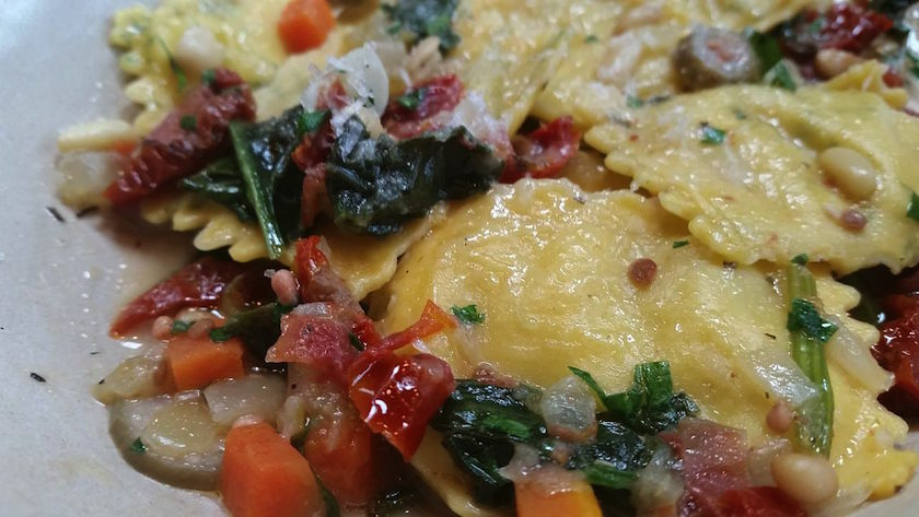 Here is an up-close shot of the Tarragon & Artichoke Ravioli. The toppings came together to make this simple dish amazingly flavorful and unforgettable.