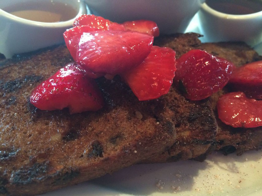 Ahhh, french toast. French toast is probably one of my favorite breakfast items, which is probably why I was both excited and a bit hesitant to order the dish at Ethos. Their cinnamon raisin french toast was topped with strawberries and came with two types of syrup: maple and agave. I didn't need either. This is when you know the french toast is really good! The slices of toast melted in my mouth and were so flavorful. Out of all of the dishes that we ate that afternoon, I am looking forward to returning to try this one again the most.