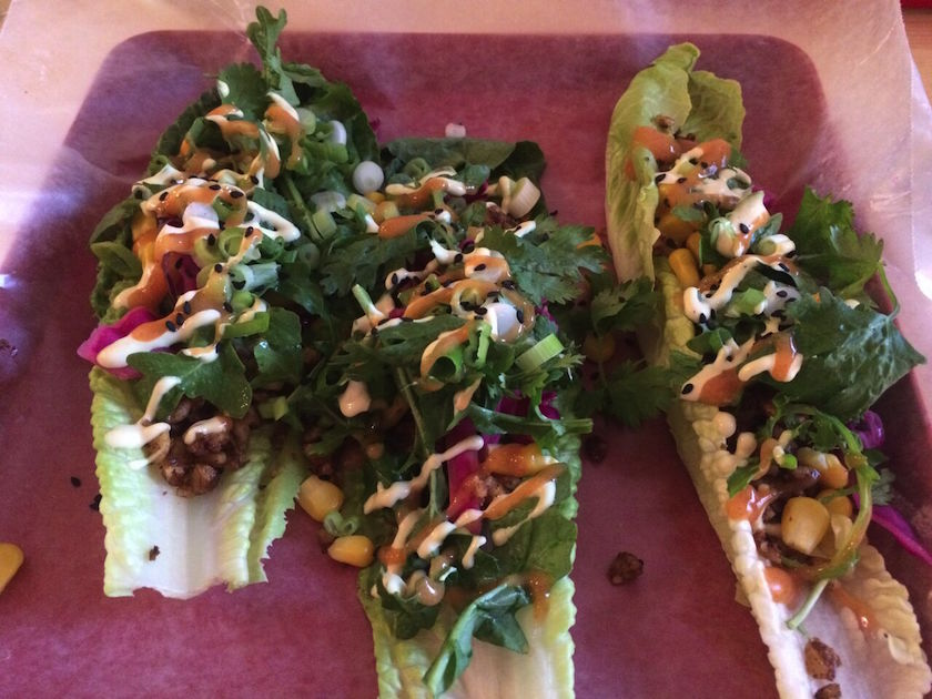 """Mamita Tacos, which was the second dish of the evening was my favorite by far! The dish was made with walnut meat, pickled red cabbage, arugula, scallions, black sesame seed, cashew sour cream, and mango chipotle salsa. The flavors definitely """"slapped me in my face!"""""""